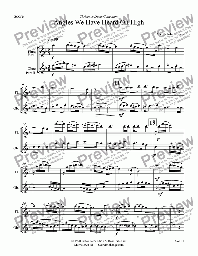 page one of Angles We Have Heard On High- duet flute and oboeASALTTEXT