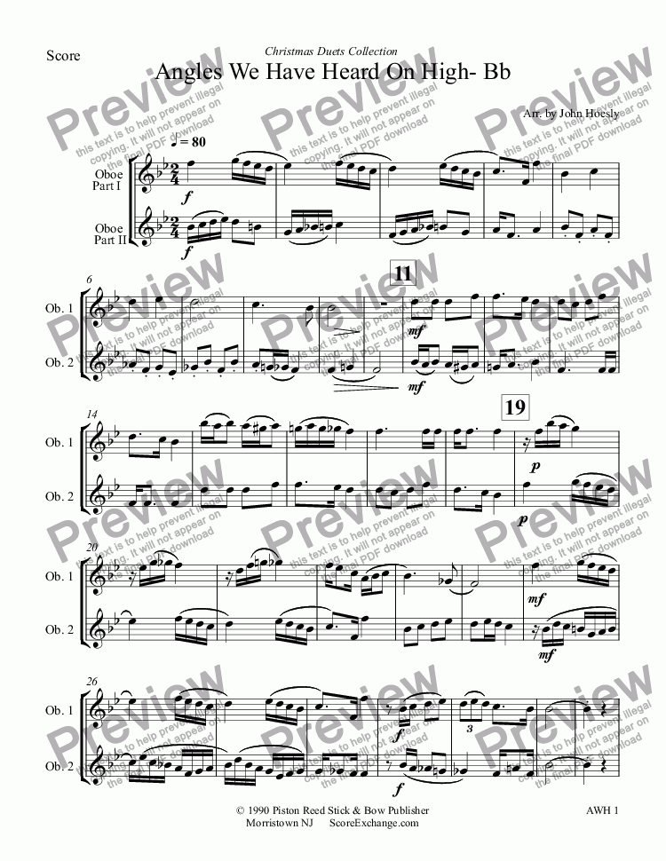 page one of Angles We Have Heard On High- Bb- duet oboe and oboe