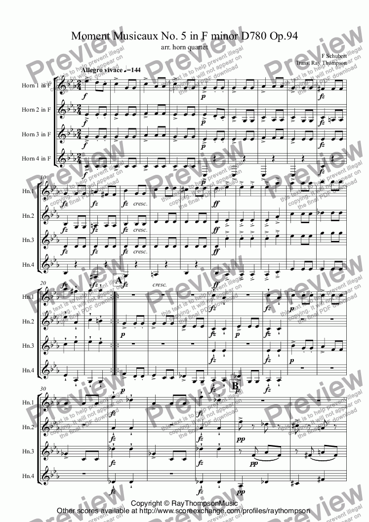 page one of Schubert: Moment Musical No. 5 in F minor D780 Op.94 arr. horn quartet