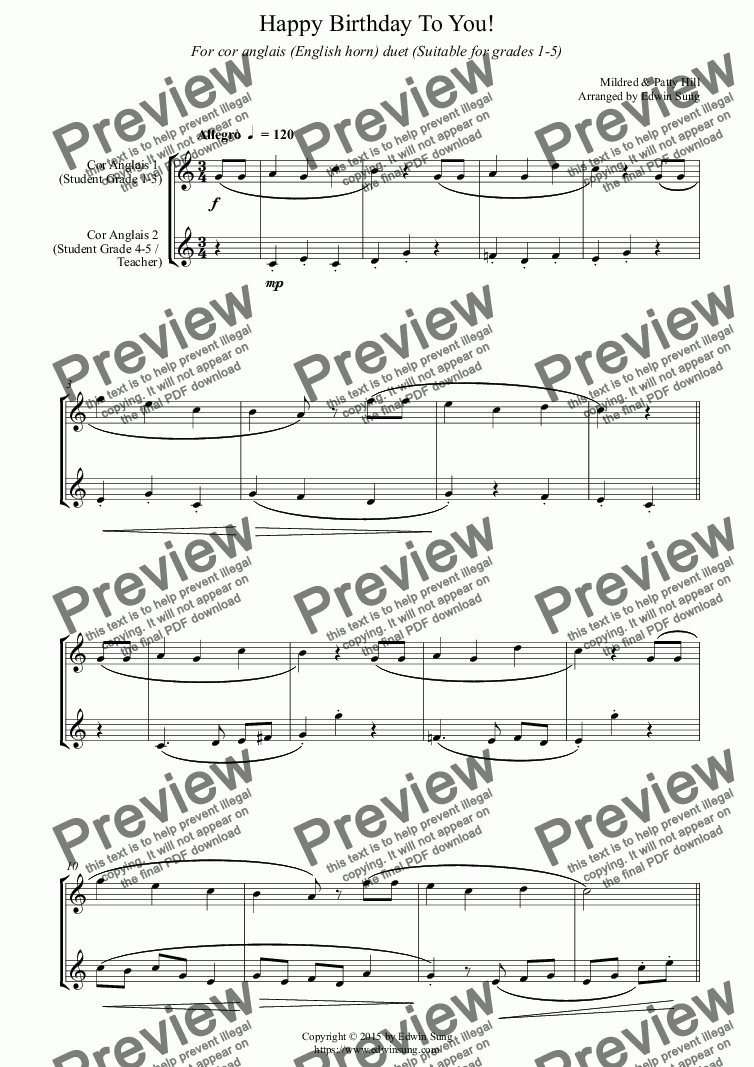 page one of Happy Birthday To You! (for cor anglais (English horn) duet, suitable for grades 1-5) (159CADU01)ASALTTEXT