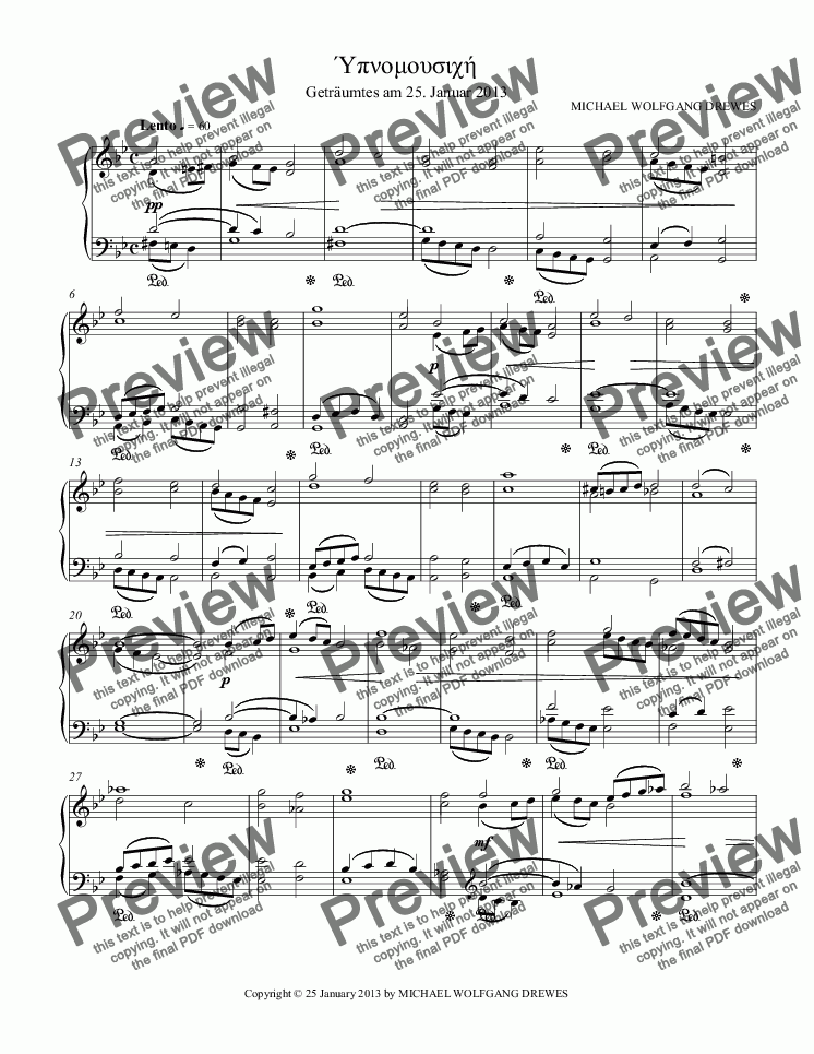 page one of Hypnomusic - Ύπνομουσιχή (Piano Reduction)