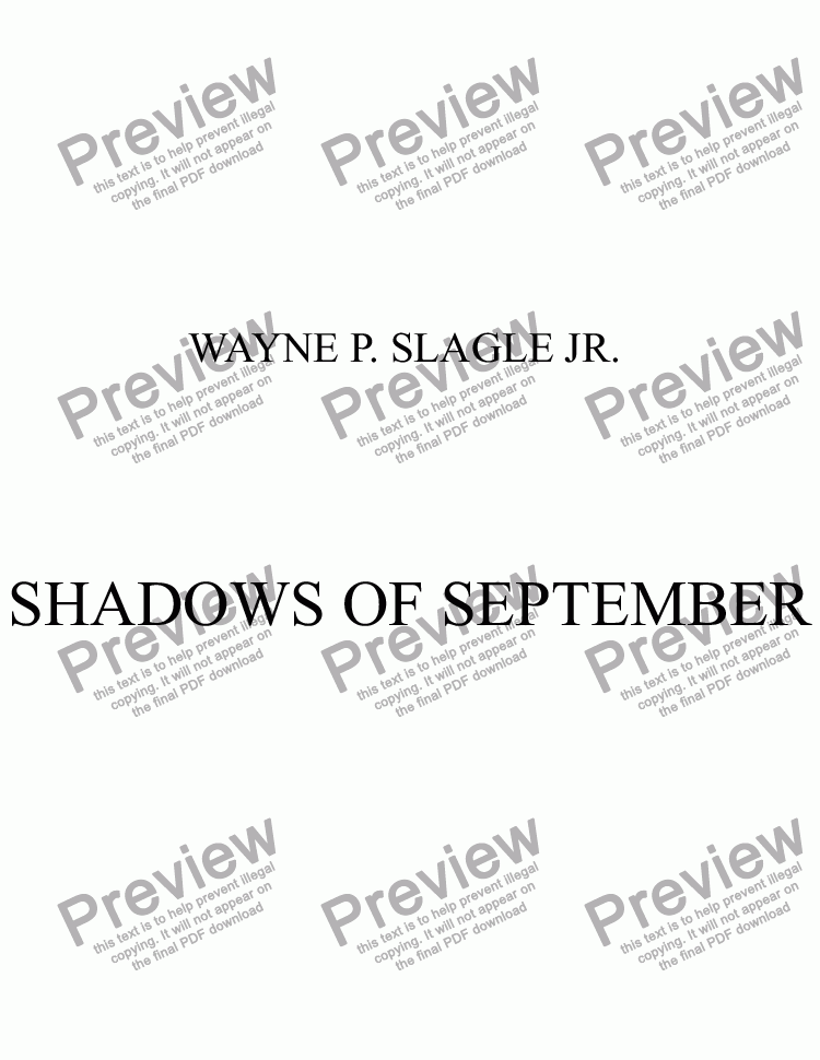 page one of SHADOWS OF SEPTEMBER