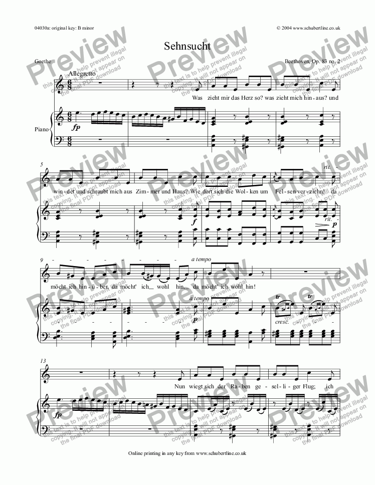 page one of Sehnsucht Op.83 no.2