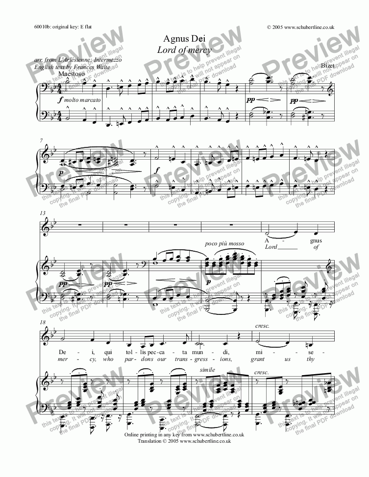 page one of Agnus Dei - Lord of mercy