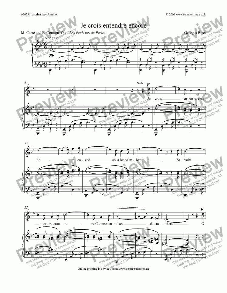 page one of Je crois entendre encore [Pearl Fishers: tenor]
