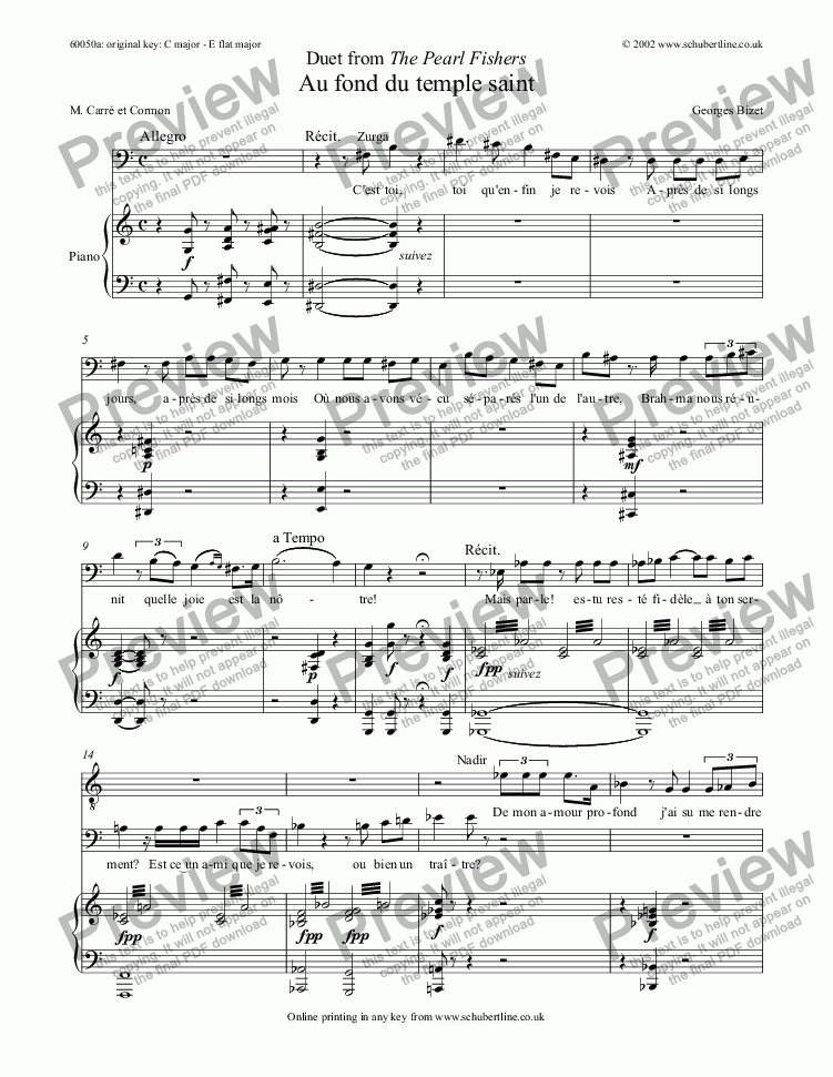 Duet From The Pearl Fishers Au Fond Du Temple Saint For Voice Keyboard By Bizet Sheet Music Pdf File To Download