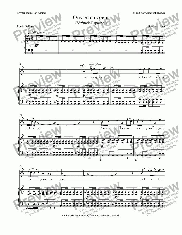 page one of Ouvre ton coeur  (Sérénade Espagnol)