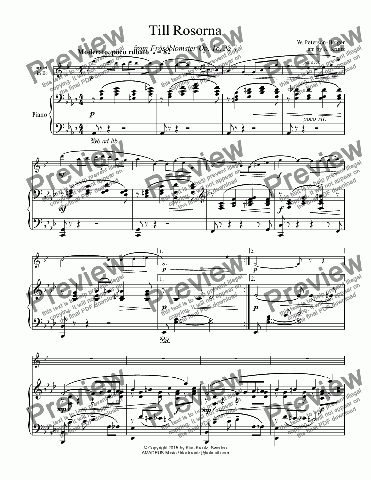 page one of Till Rosorna for clarinet in Bb and piano