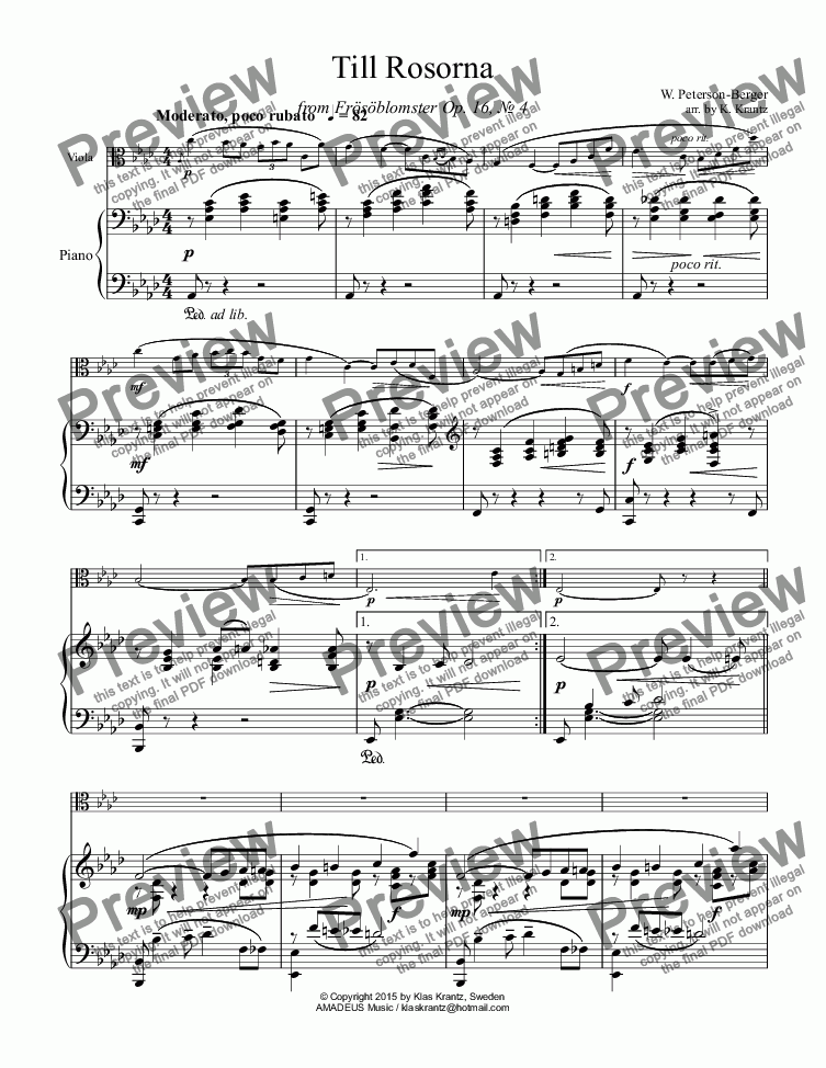 page one of Till Rosorna for viola and piano
