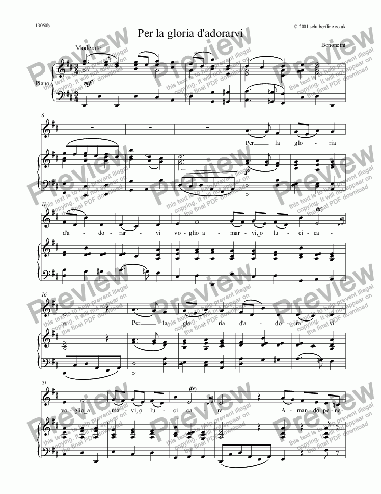 page one of Per la gloria d'adorarvi [Bononcini]