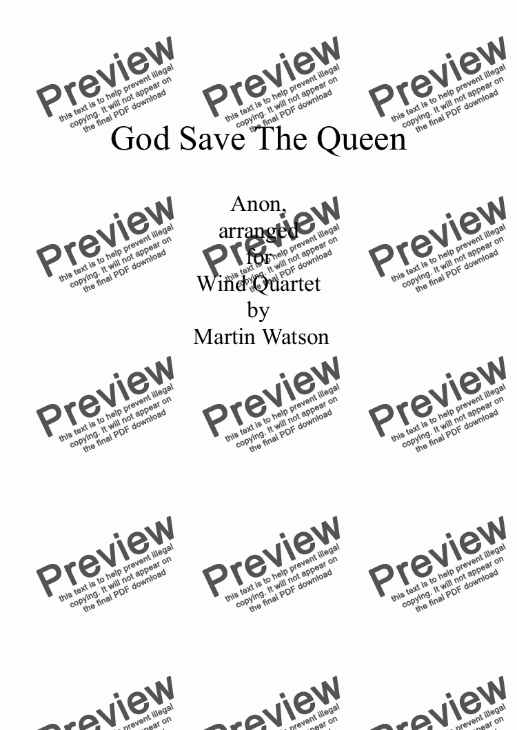 page one of God Save The Queen for Wind Quartet