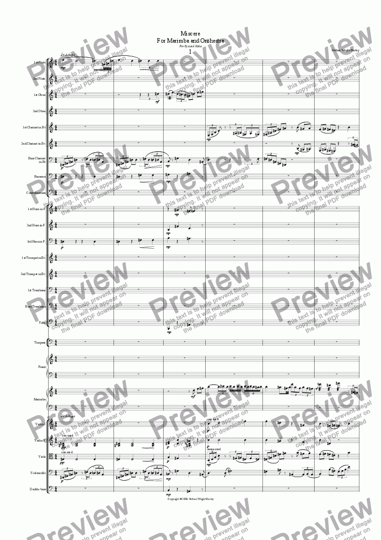 page one of Miscere for Marimba and Orchestra