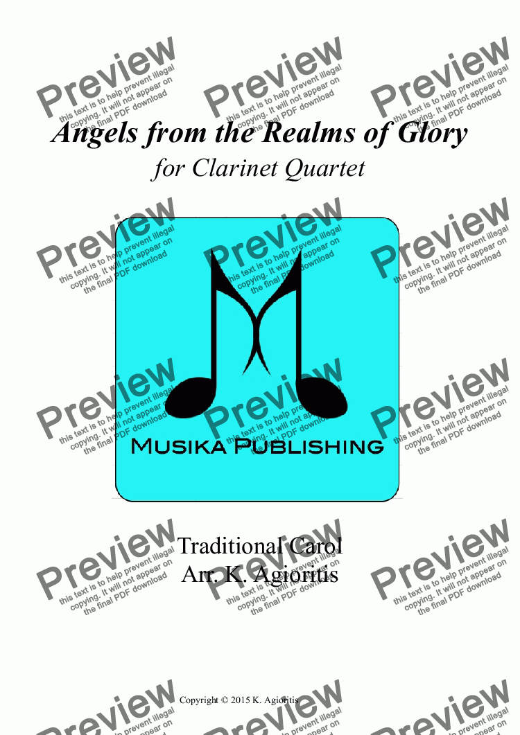 page one of Angels from the Realms of Glory - Clarinet Quartet