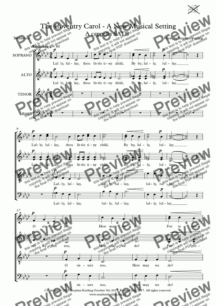page one of THE COVENTRY CAROL - A New Musical Setting SATB a cappella