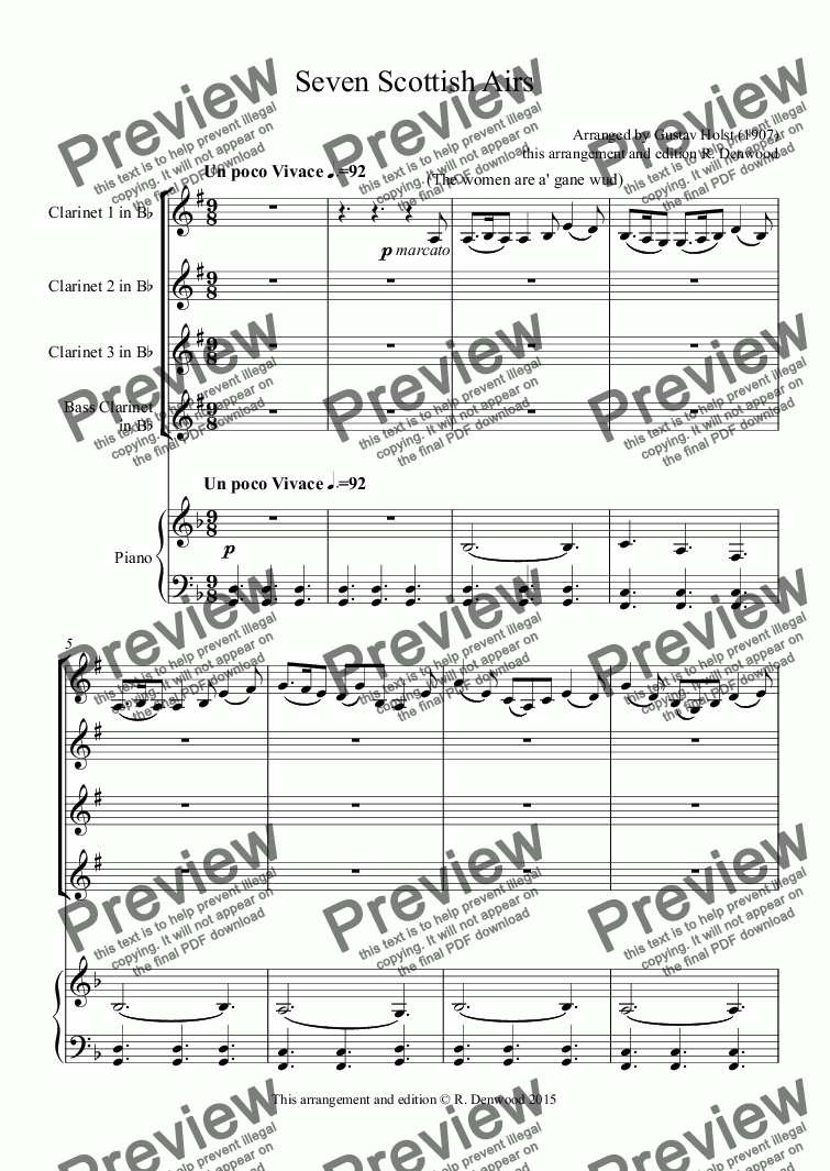 page one of Holst - Seven Scottish Airs (1907) for Piano, 3 Bb clarinets & BassClarinet.