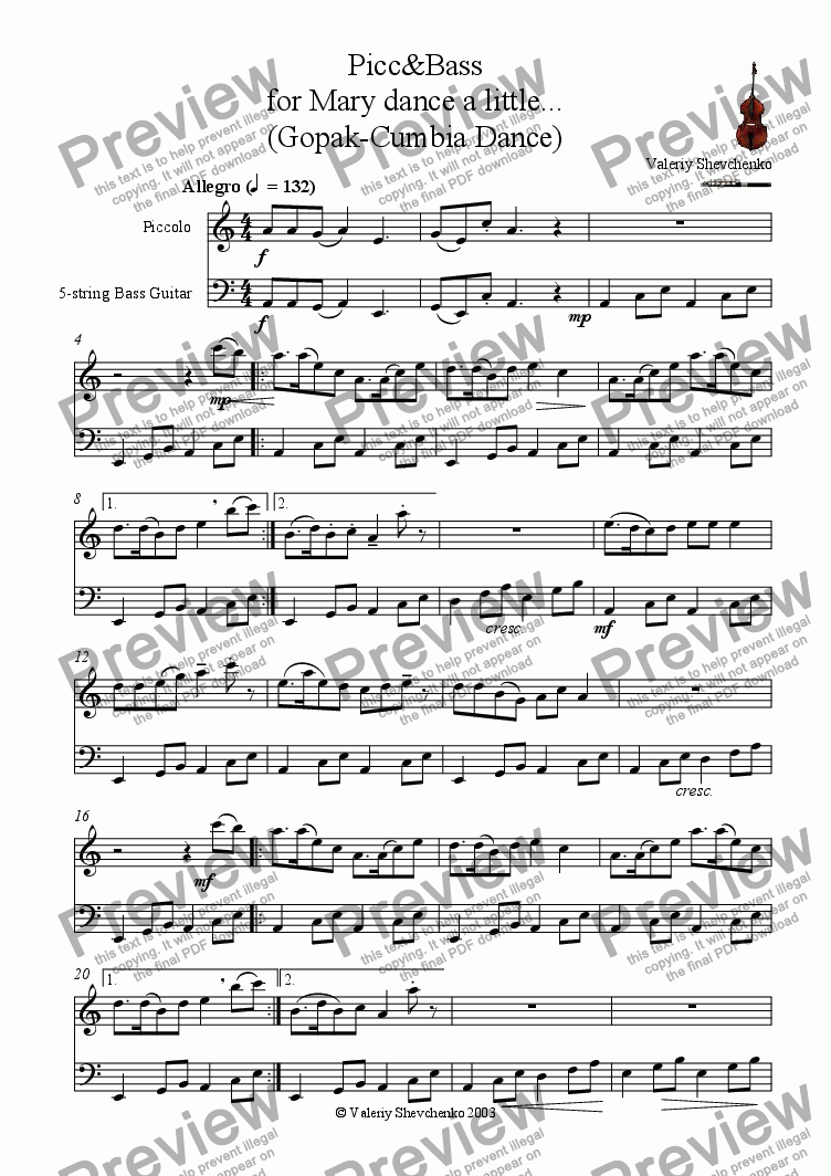 page one of Picc&Bass for Mary dance a little...(Gopak-Cumbia Dance)ASALTTEXT