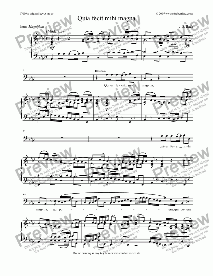page one of Quia fecit mihi magna [Magnificat: bass]