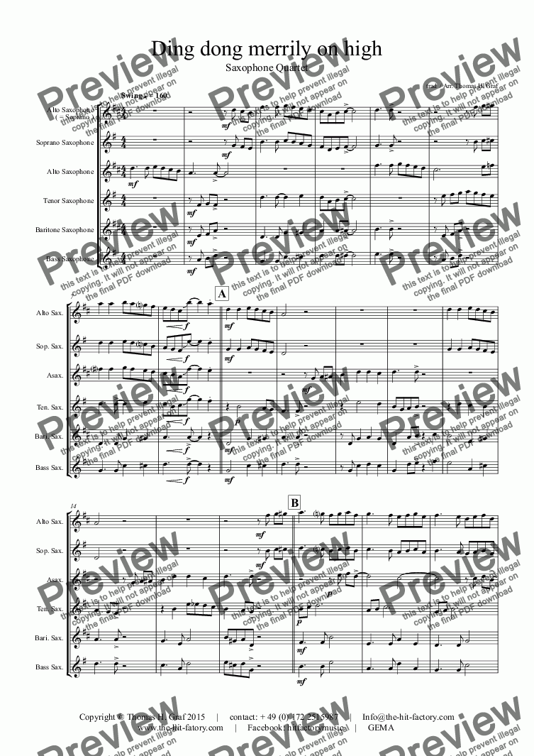 page one of Ding dong merrily on high - Swing - Saxophone QuartetASALTTEXT