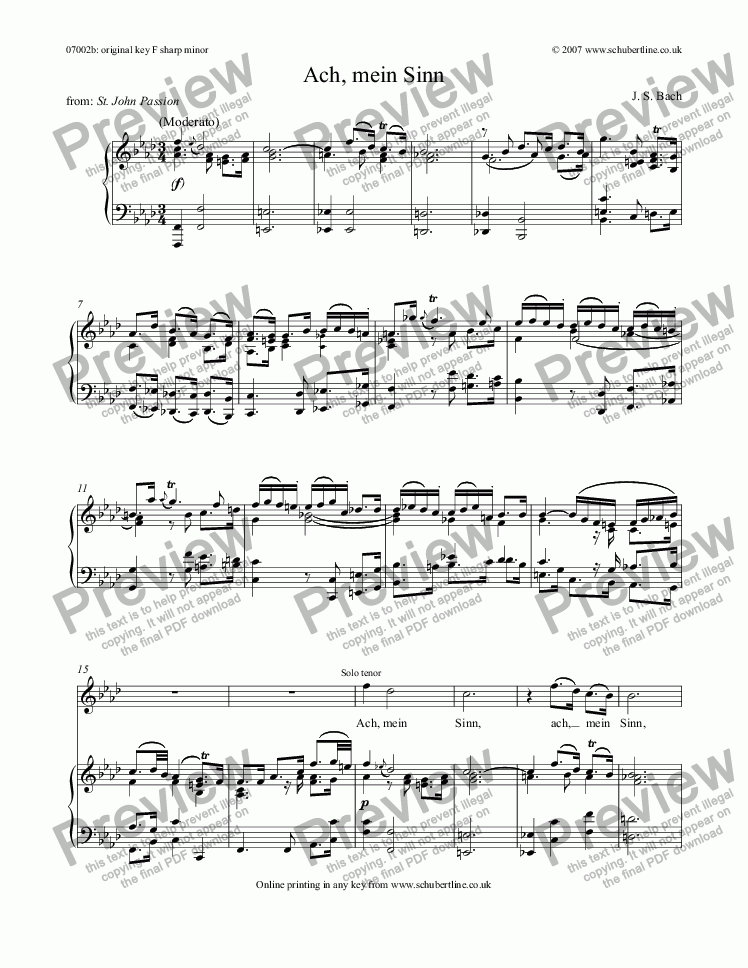 page one of Ach, mein Sinn [St. John Passion: tenor]