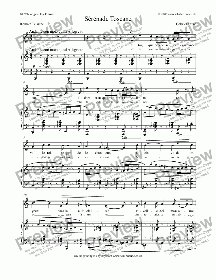 page one of Sérénade Toscane