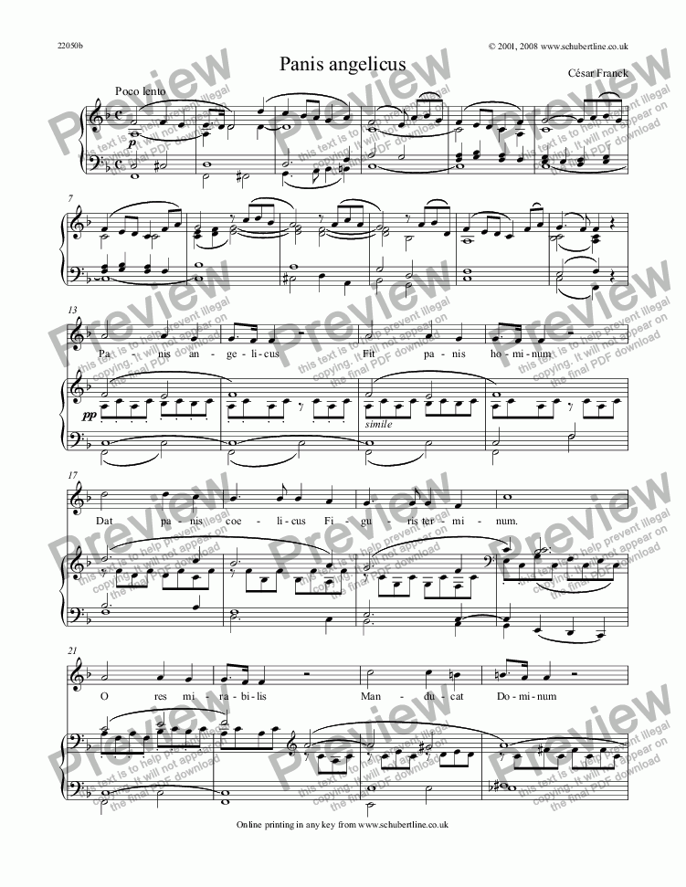 page one of Panis angelicus [C. Franck]