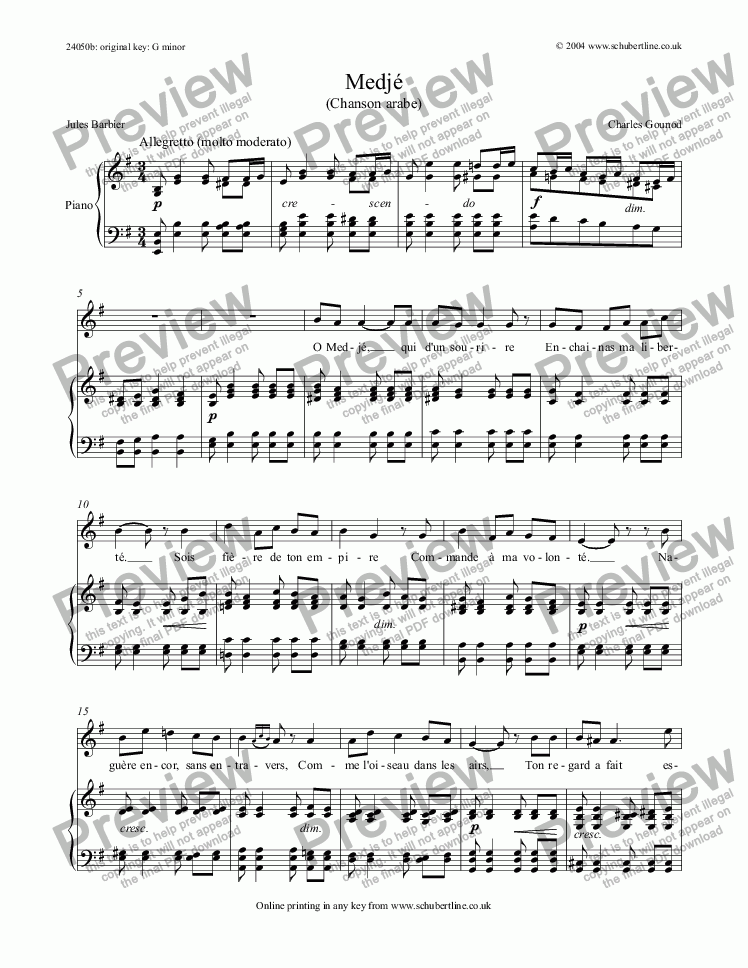 page one of Medjé (Chanson arabe)