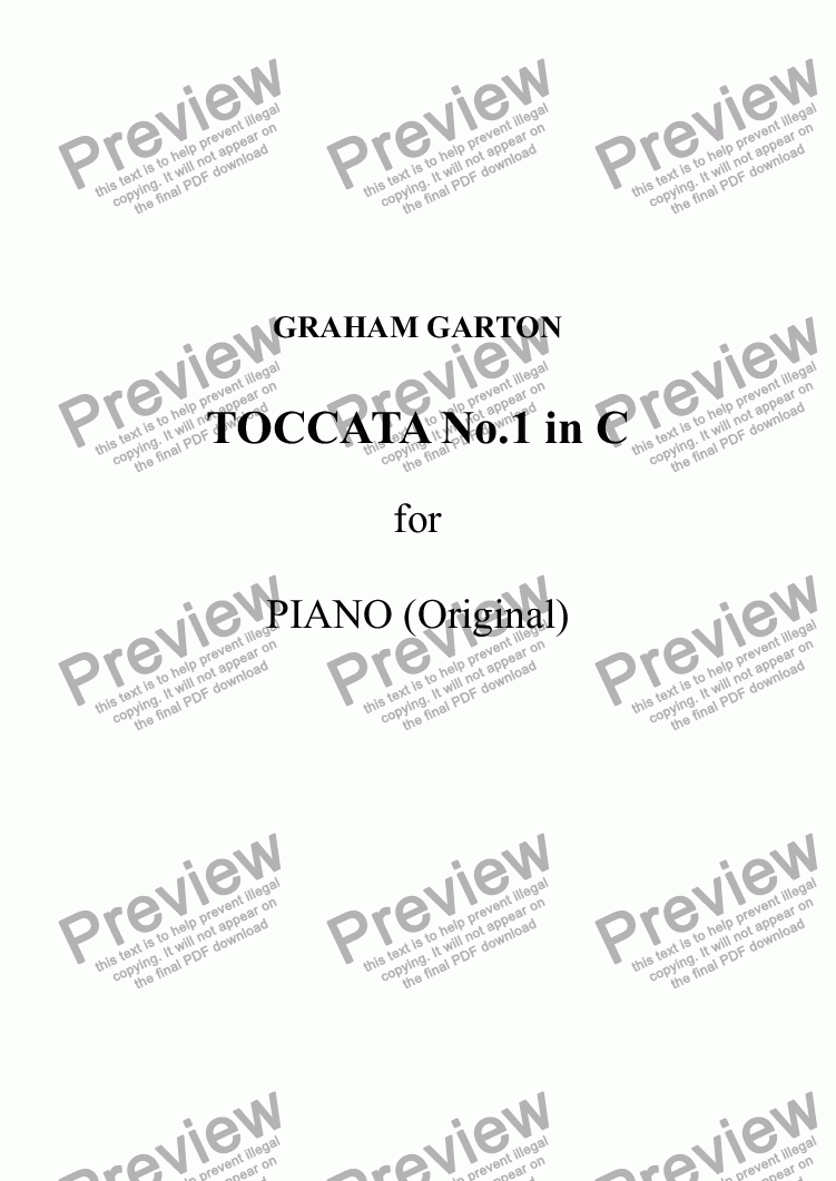 page one of TOCCATA No.1 in C for Piano - (Original) A rather brittle Concert PieceASALTTEXT