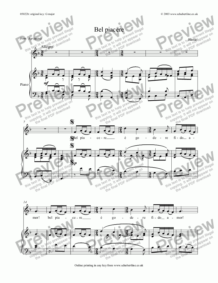 page one of Bel piacere [Agrippina: mezzo]
