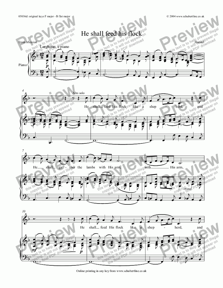page one of He shall feed his flock [Messiah: sop. and mezzo/alto]
