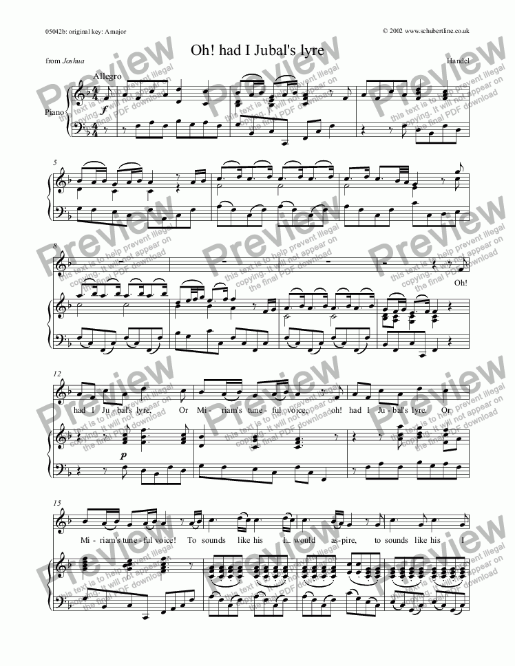 page one of Oh! had I Jubal's lyre [Joshua: sop.]