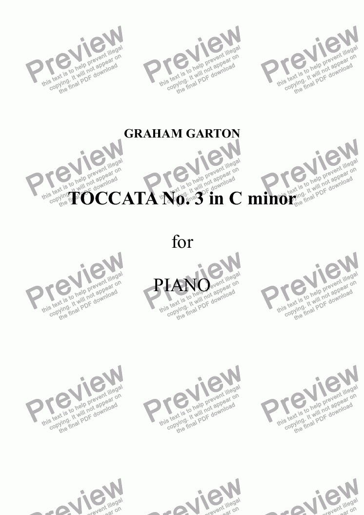page one of TOCCATA No.3 in C minor for Piano. Mixed time signaturesASALTTEXT