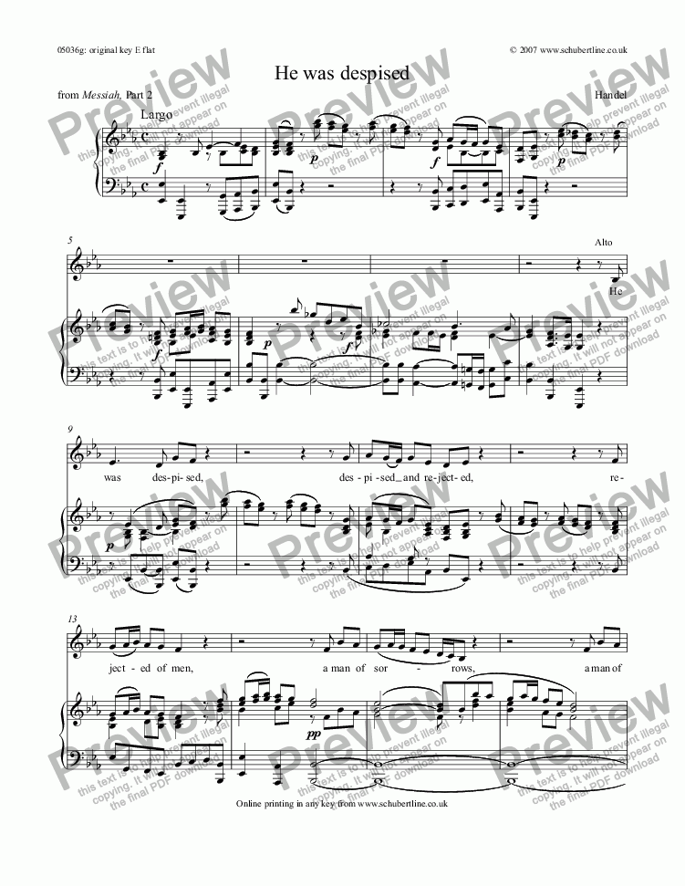page one of He was despised [Messiah: mezzo/alto]
