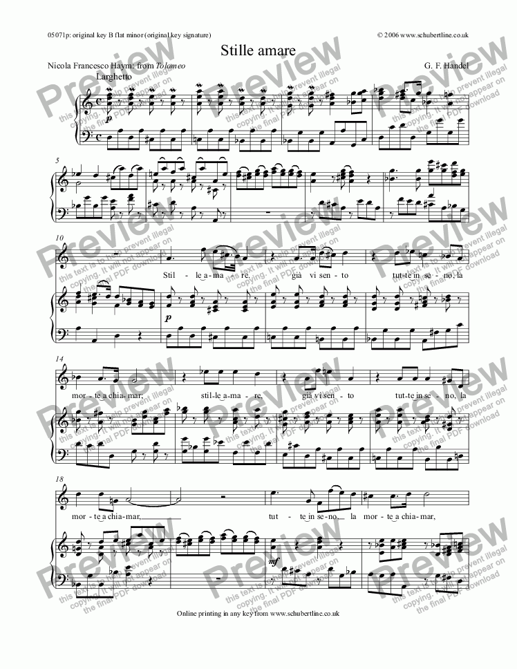 page one of Stille amare [Tolomeo: alto]