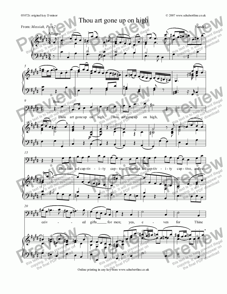 page one of Thou art gone up on high [Messiah: bass]