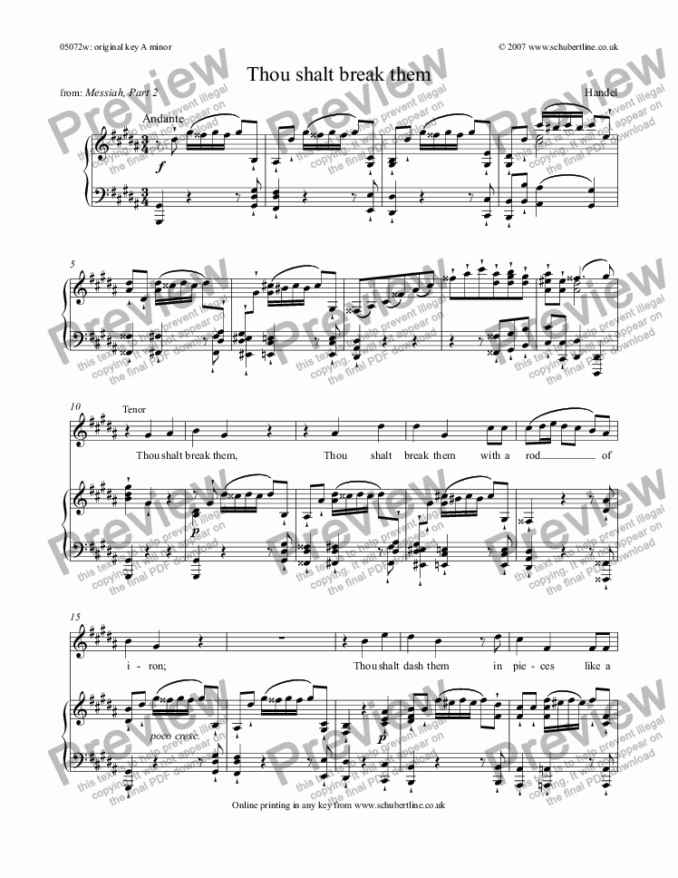 page one of Thou shalt break them [Messiah: tenor]