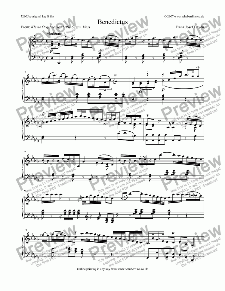 page one of Benedictus (Little Organ Mass)