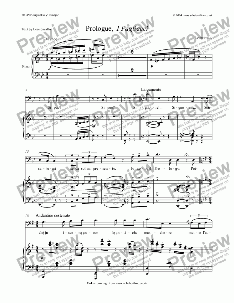 page one of Prologue,  I Pagliacci