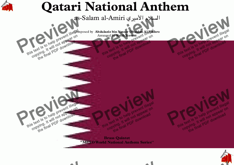 page one of Qatari National Anthem for Brass Quintet (MFAO World Nnational Anthem)