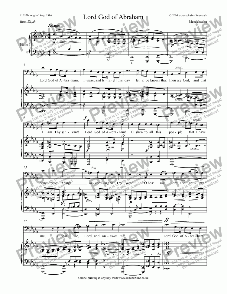 page one of Lord God of Abraham [Elijah: bass]