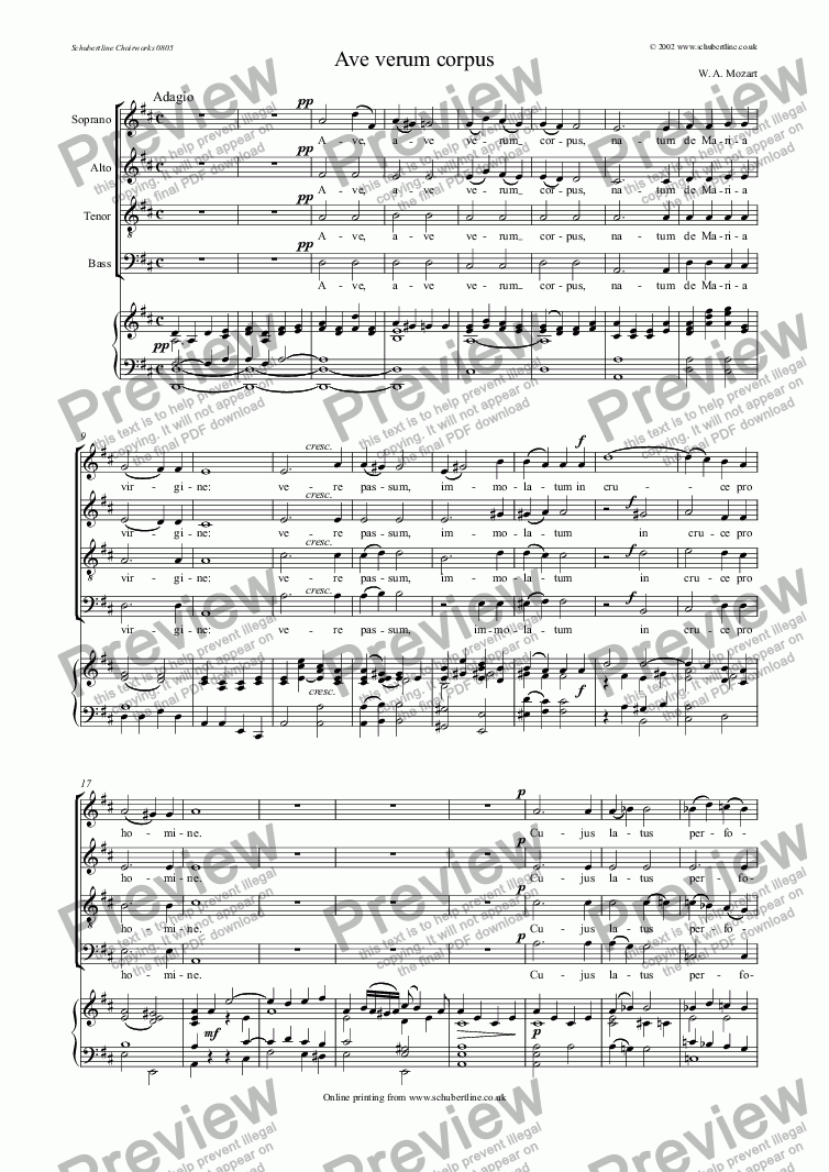 page one of Ave verum corpus - original choral version