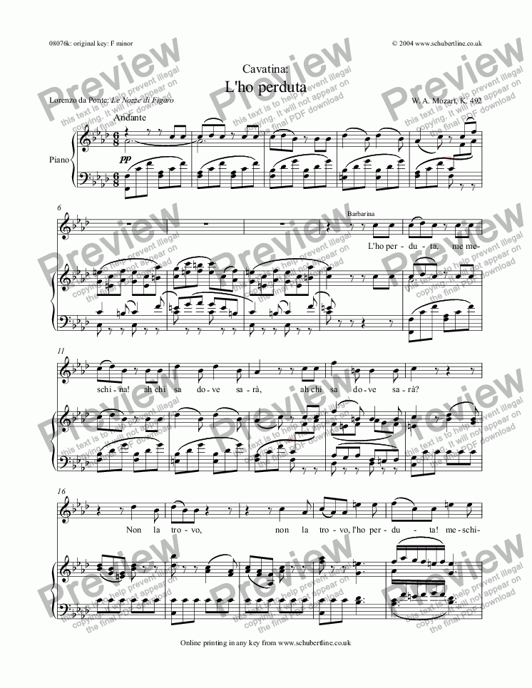 page one of L'ho perduta [Figaro: sop.]