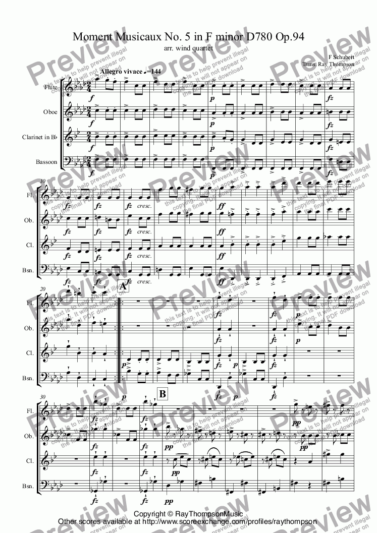 page one of Schubert: Moment Musical No. 5 in F minor D780 Op.94 arr.wind quartetASALTTEXT