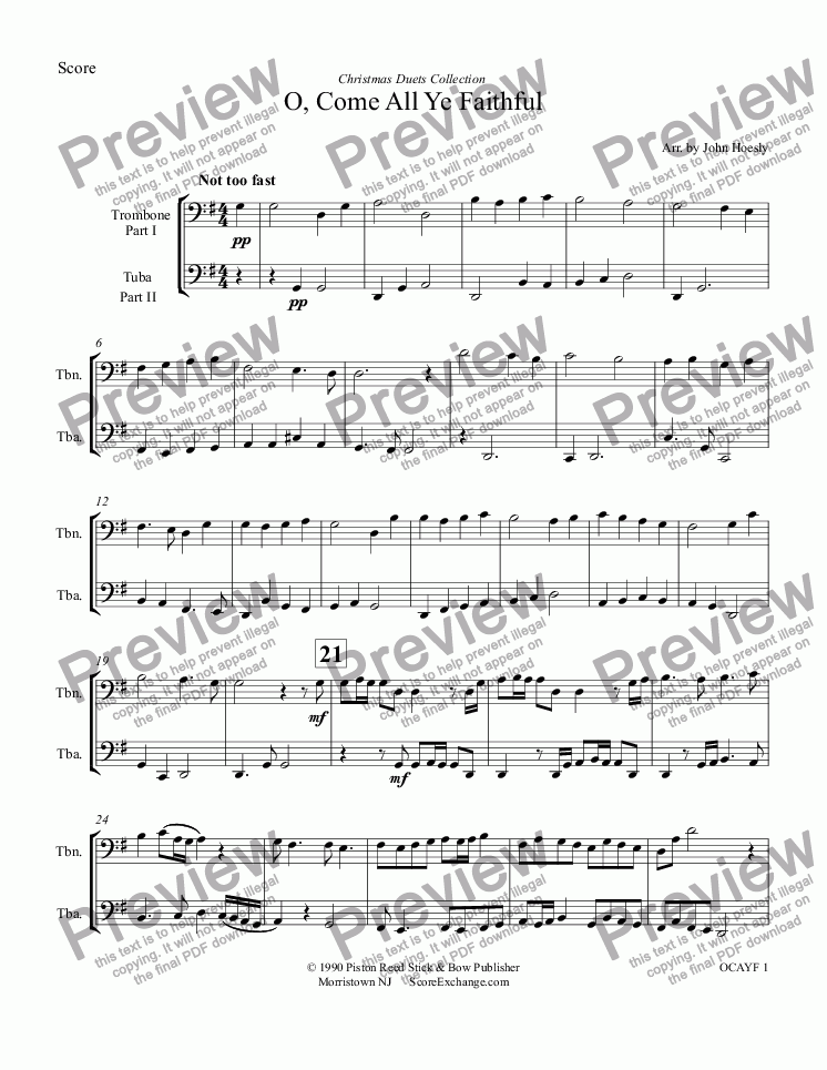 page one of O, Come All Ye Faithful- duet trombone and tuba