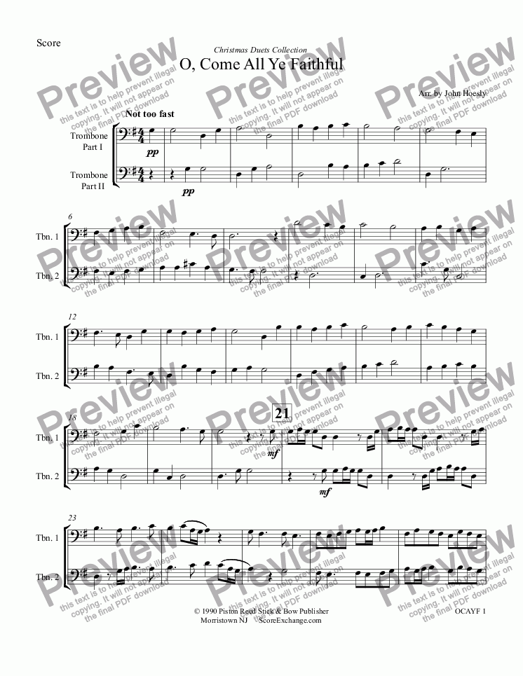 page one of O, Come All Ye Faithful- duet trombone and trombone