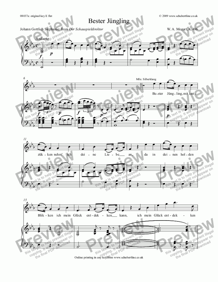 page one of Bester Jüngling [The Impressario: sop.]