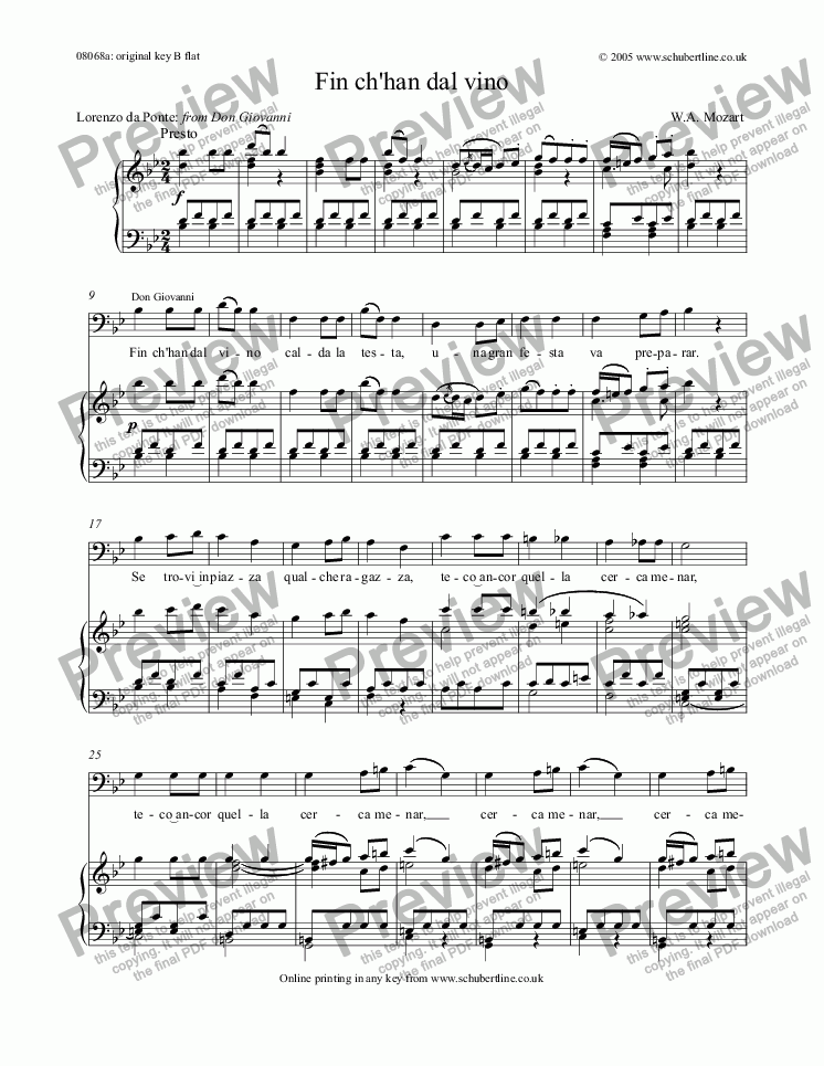 page one of Fin ch'han dal vino  [Don Giovanni: bar.]