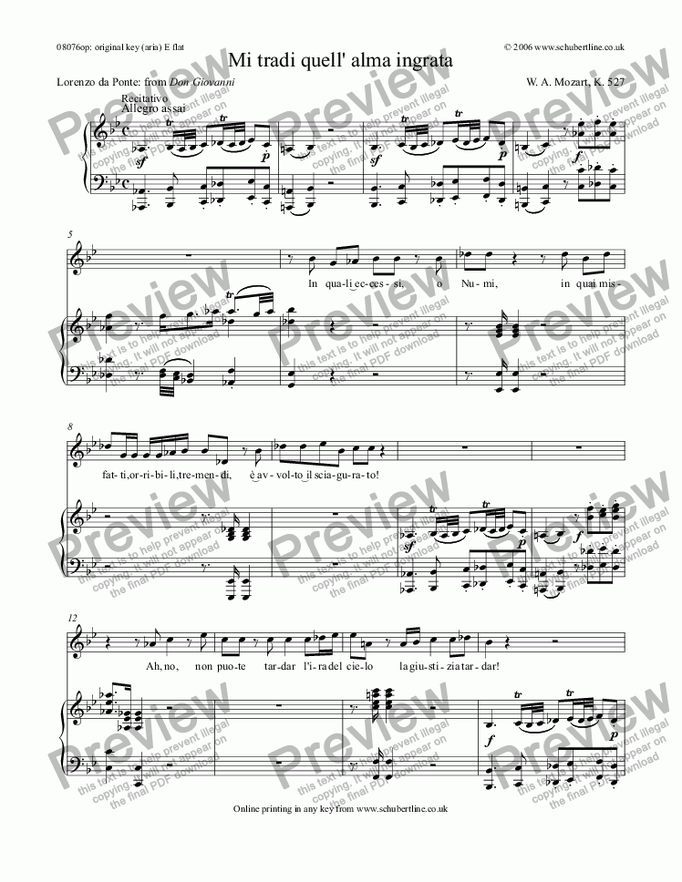 page one of Mi tradi quell' alma ingrata [Don Giovanni: sop.]
