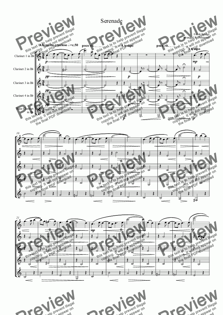 page one of Bridge - Serenade for reduced clarinet choir