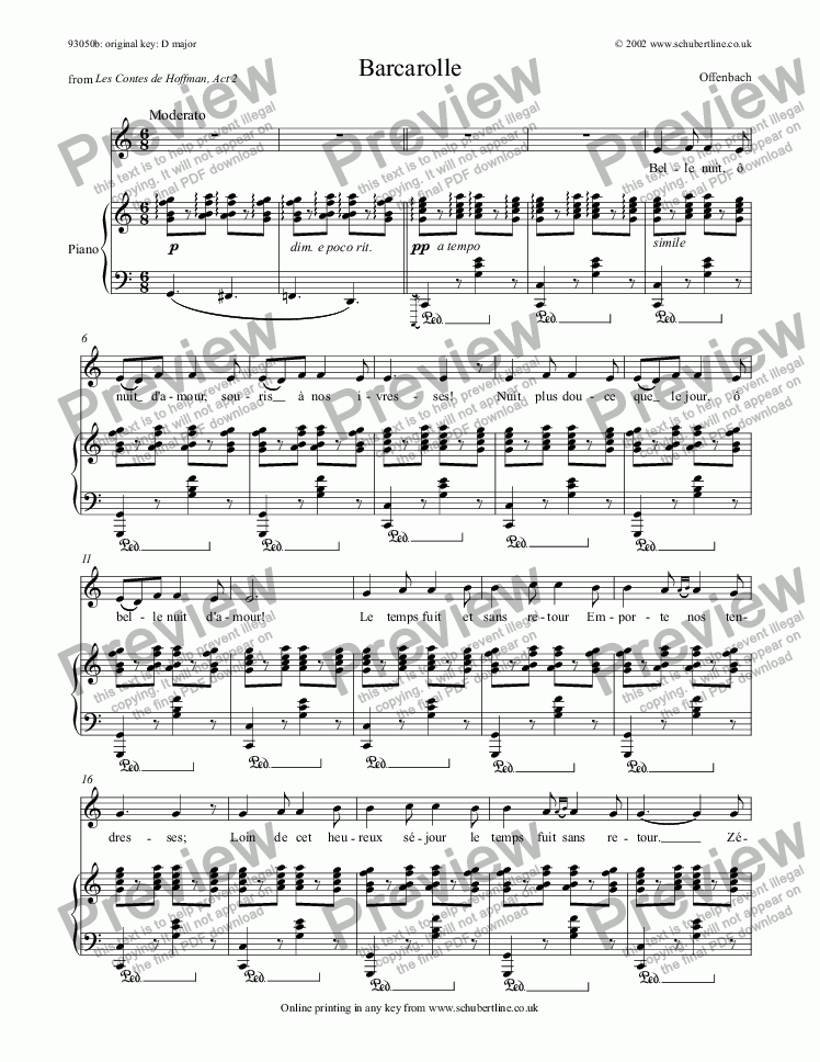 page one of Barcarolle [Hoffmann: mezzo or bar.]