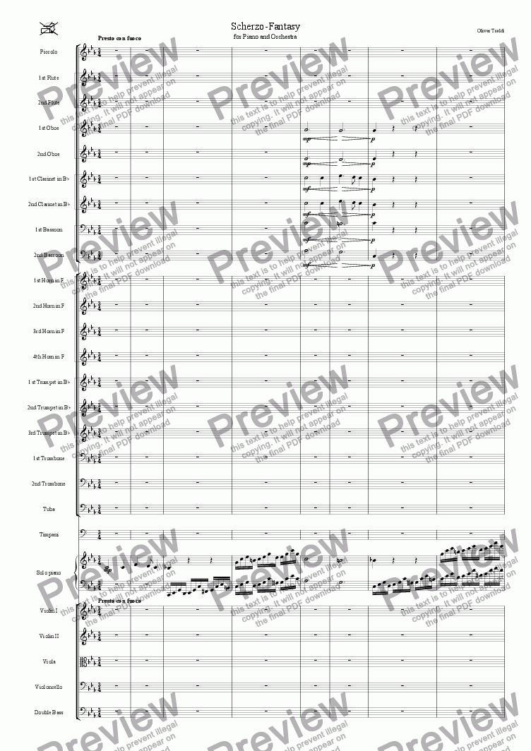 page one of Scherzo for Piano and Orchestra
